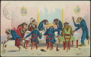 Ansichtskarte Tiere personifizierte Affen herrliches Litho künstlerkarte 190626