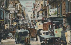 Ansichtskarte tolle Straßenkarte Peterstrasse Mustermesse Reklame n. Heidelberg