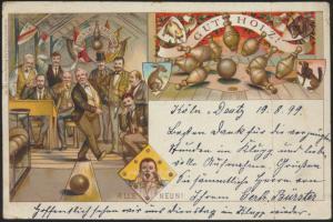 Ansichtskarte Litho Sport Kegeln 1899 von Köln nach nach Gevelsberg