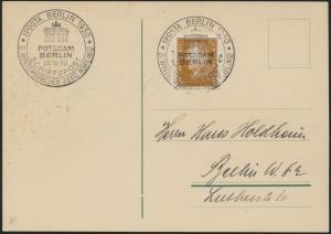 Dt Reich Postkarte 410 SST IPOSTA Berlin Schiffspost Wintermärchen Brandenburger