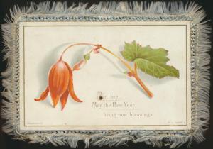 Ansichtskarte mit Blumen Weihnachten Neujahr mit gewebtem Rand sehr selten und