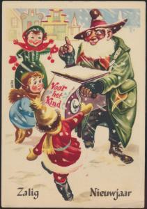 Ansichtskarte Weihnachten Weihnachtsmann Nikolaus grüner Mantel Leierkasten