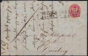 Preussen Brief EF 16 mit R 2 Elberfeld nach Duisburg