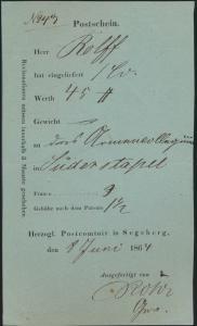 Altdeutschland Schleswig Postschein für Geldsendung Segeberg nach Süderstapel