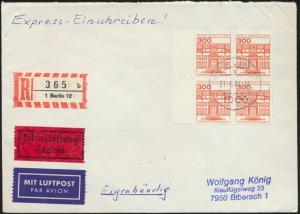 Eilbrief Berlin R-Brief 365b Luftpost MEF 677A Viererblock+SR Berlin na Biberach