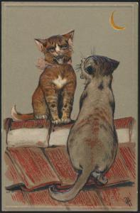 Ansichtskarte selt.schöne Prägekarte Künstler A.H.Tiere Katzen Dach Mond Gesang