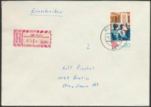 DDR Einschreiben R-Brief  EF 1364 Berlin Sonder R-Zettel 50 Pfg, SbPA