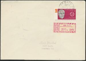 DDR Einschreiben R-Brief 797b EF 1383 Berlin mit Sonder R-Zettel 50 Pfg, SbPA