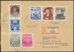 DDR R-Brief 970 MIF 482+484+491+497+521-522 Burkhardtsdorf nach Fahrenbach