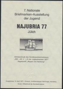 Bund Schwarzdruck 929 Segelschiff Wappen von Hamburg Najubria 77 Jülich Marine