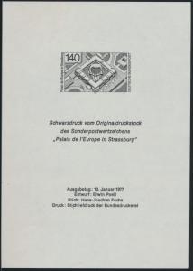 Bund Schwarzdruck 921 Palais de l'Europe in Strassburg 1977 Entwurf Erwin Poell