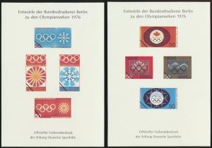 2 Entwürfe Olympiamarken 1976 Sporthilfe