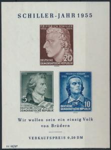 DDR  464-466 Block 12 X I Schiller 1955 postfrisch MNH Kat.-Wert 24,00