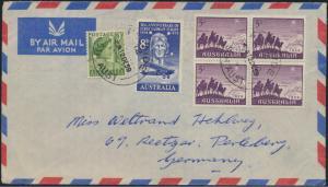 Brief Australien Luftpost MIF 205+284+304 Viererblock Adelaide nach Perleberg