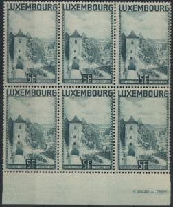 Luxemburg 258 Sechserblock mit Unterrand Landschaften postfrisch 1934