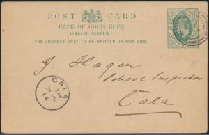 Cape of Good Hope postal stationery Ganzsache P 17 Barkly to Cala 1904