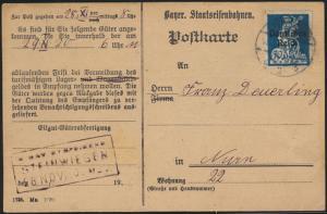 Postkarte D. Reich EF 123 Steinwiesen Bayerische Eisenbahn Abholkarte Güter