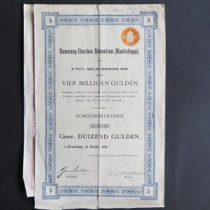 Wertpapier Share Aktie Niederlande Semarang Cheribon 4 Mill. Gulden Eisenbahn