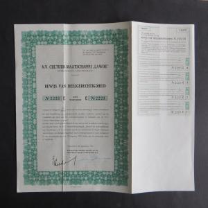 Wertpapier Share Aktie Niederlande N.V. Cultuur Maatschappij Lawoe Amsterdam