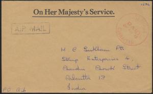 BRITISCHE MILITÄRPOST Gibraltar roter K1 POST OFFICE PAID Luftpost n. Kalkutta