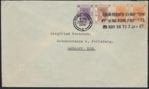 Brief Hongkong MIF 178+179+181 nach Perleberg ST Exhibition of Hongkong Products