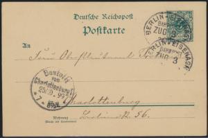Deutsches Reich Ganzsache 5 Pfg. Reichspost Bahnpost Berlin Eisenach Zug 3 1899