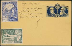 Belgien postal stationery Ganzsache + ZuF + 2 Vignetten Ausstellung Liege Paris