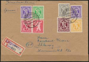 Besetzung Bizone selt. MIF AM-Post Brandenburg Behelfs-R-Zettel Lütjenburg