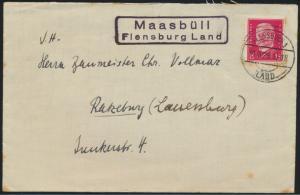 Deutsches Reich Brief mit Landpoststempel R2 Maasbüll Flensburg Land n Ratzeburg