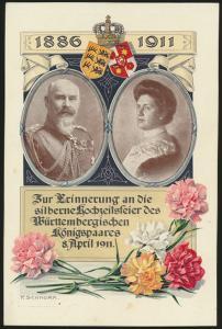 Reich Privatganzsache PP 27 C125 Hochzeit Königspaar Württemberg Künstler Schnor