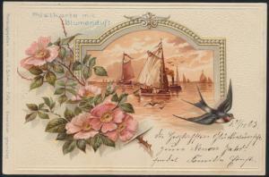 Ansichtskarte Bahnpost Blumenduft Jugendstil Art Nouveau Segelboot Tier Vögel