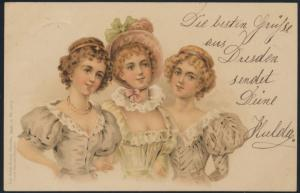 Ansichtskarte 3 Frauen Kleider Dresden nach Kötzschenbroda