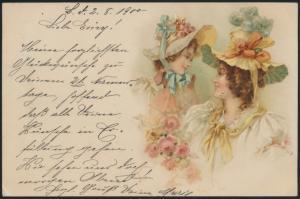Ansichtskarte Frauen mit Hut Blumen 1900