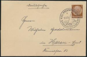 Deutsches Reich Brief EF 3 Pfg. Hindenburg SST Kiel Pressepostamt Olympia Segeln