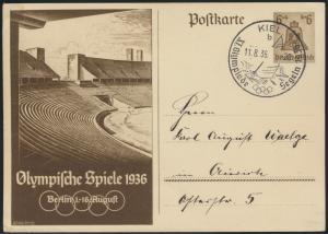 Deutsches Reich Ganzsache Olympia SST Kiel nach Aurich 1936