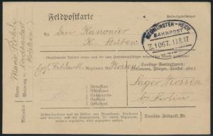 Bahnpost Vordruck Feldpostkarte Neumüneter Heide Zug 1067 19.8.1917 I. Weltkrieg