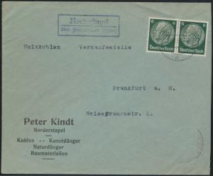 D. Reich Brief MEF 6 Pfg. Hindenburg Paar Landpoststempel Norderstapel Schleswig