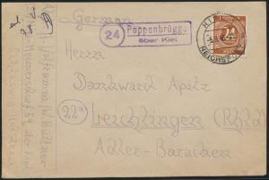 All. Besetzung Brief Landpoststempel Poppenbrügge über Kiel K2 K. Reichspost n.
