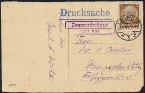 D. Reich Landpoststempel Poppenbrügge über Kiel nach Weingarten 29.3.1934 auf