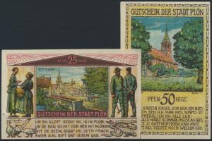 Banknoten Geldscheine Notgeld 4 Scheine von Plön 25 Pfg. - 1 Mark Top Erhaltung