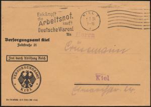 Deutsches Reich Dienstsache Versorgungsamt Kiel mit inter. Masch.-St. Arbeitsnot