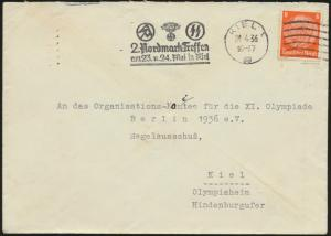 Reich Brief Hindenburg selt. Stempel SS 2. Nordlandtreffen Kiel Olympia Sport