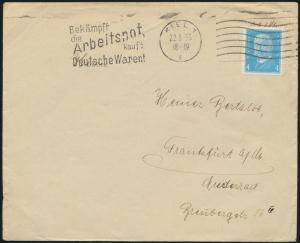 Deutsches Reich EF454 Hindenburg 4 Pfg. Kiel Schleswig n Frankfurt Masch-Stempel