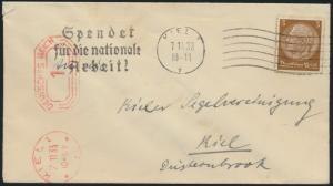 Reich EF 3 Pfg. Hindenburg+AFS 1 Pfg. Masch.-S.Kiel Spendet für die nationale