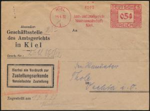Deutsches Reich Brief Zustellurkunde Kiel AFS 054 nach Vechta 14.4.1932
