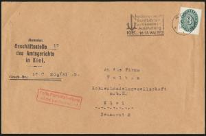 Reich Brief EF Dienst 116 Maschst. Kiel Nordische Hafen Schiffahrts + Verkehr