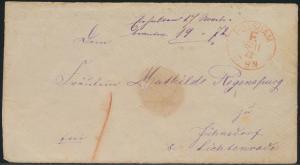Altdeutschland Preussen Briefvorderseite mit rotem K1 Potsdam F vom 16.11.1872