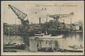 Ansichtskarte Foto Kiel Handelshafen Germaniawerft Schiffe Schiffahrt Marine n.