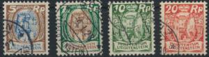 Liechtenstein 66-68 + 70 Winzer und Schloß gestempelt