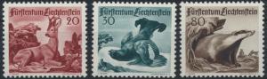 Liechtenstein 285-287 Jagd Tiere Dachs Birkhuhn Luxus postfrisch MNH Kat 90,00